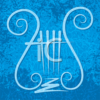 Royalty Free Clipart Image of a Lyre on a Grunge Blue Background