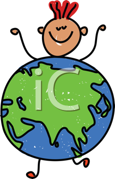 Royalty Free Clipart Image of a Boy in a Globe