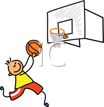 Royalty Free Clipart Image of a Boy Playing Basketball