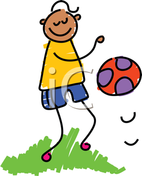 Royalty Free Clipart Image of a Boy Bouncing a Ball