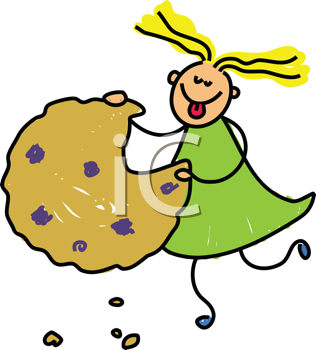 Royalty Free Clipart Image of a Girl Eating a Cookie