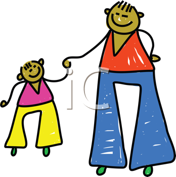 Royalty Free Clipart Image of a Father and Son