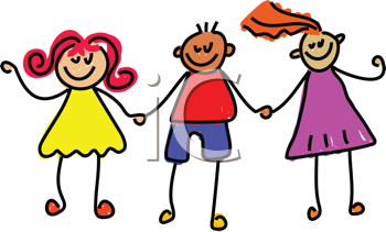 Royalty Free Clipart Image of Friends Holding Hands
