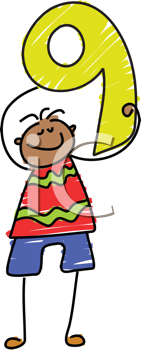 Royalty Free Clipart Image of a Boy With the Number 9