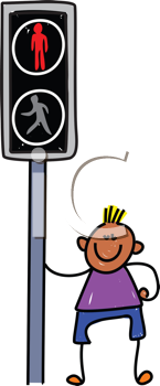 Royalty Free Clipart Image of a Boy at a Crosswalk