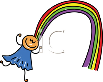Royalty Free Clipart Image of a Girl With Rainbow Hair