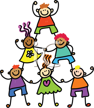 Royalty Free Clipart Image of a Child Pyramid