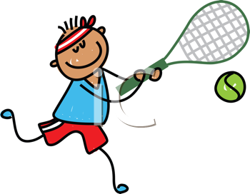 Royalty Free Clipart Image of a Boy Playing Tennis
