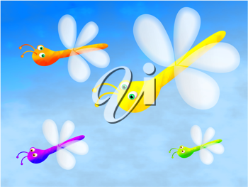 Royalty Free Clipart Image of Dragonflies