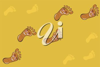 Royalty Free Clipart Image of Footprints in the Sand