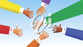 Royalty Free Clipart Image of a Group of Hands