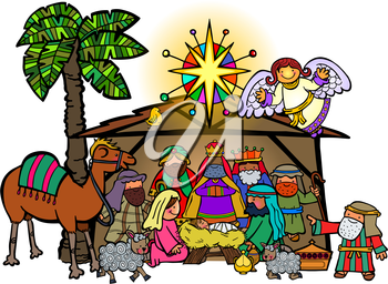 Hand drawn cartoon doodle depicting the Christmas nativity bible story.