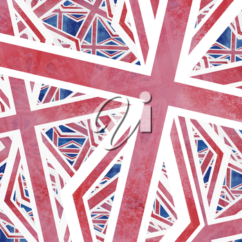 Union Jack flag abstract collage pattern design.