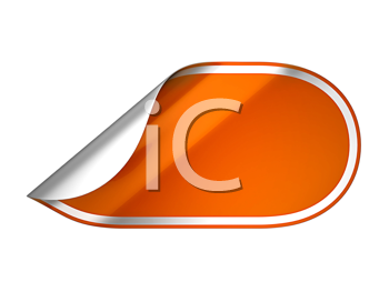 Royalty Free Clipart Image of a Bent Orange Sticker