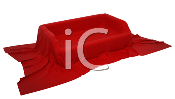 Royalty Free Clipart Image of a Showcase Pedestal Covered With Red Cloth