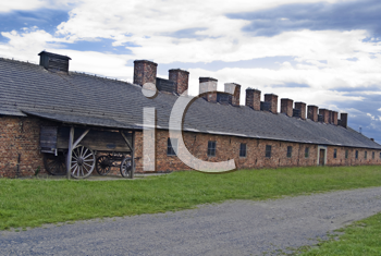 Cookhouse and cart in Auschwitz - Birkenau concentration camp, Poland.