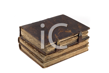 Stack of old obsolete books isolated over white