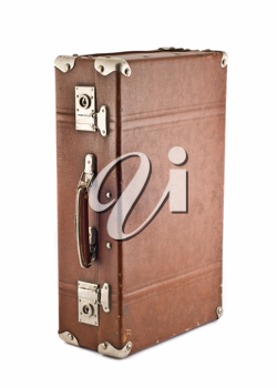 Adventures and travel - old-fashioned scratched trunk (case) isolated over white