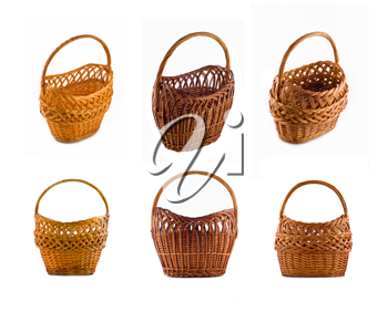 Collage of Wicker woven basket over white background. Full-size images can be found in my portfolio