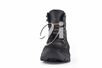 Front view of Warm leather boot for wearing in winter or traveling (isolated, over white)