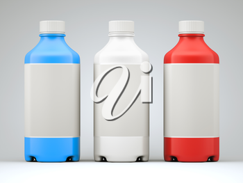 Three colorful  bottles for chemicals or drugs over grey studio background