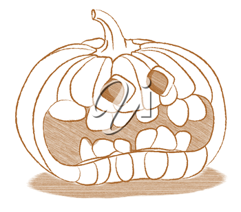 Creepy Halloween pumpkin with funny face. High resolution