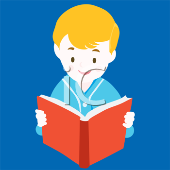 Royalty Free Clipart Image of a Child Reading a Book