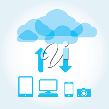 Royalty Free Clipart Image of a Cloud With Two Arrows Pointing to Computers, a Phone and a Camera