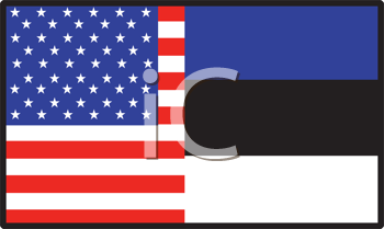 Royalty Free Clipart Image of a Half American, Half Estonia Flag