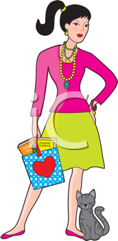 Royalty Free Clipart Image of a Woman With a Cat