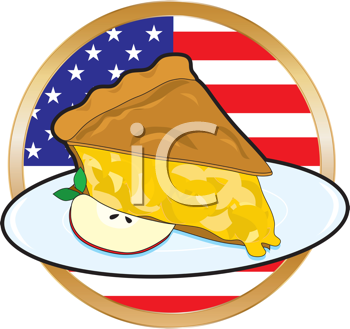 Royalty Free Clipart Image of a Pie on an American Flag