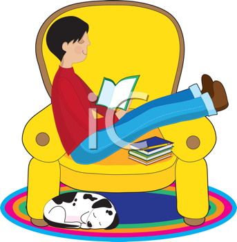 Royalty Free Clipart Image of a Boy Reading With His Dog Nearby