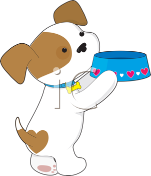 Royalty Free Clipart Image of a Puppy Holding Its Dish