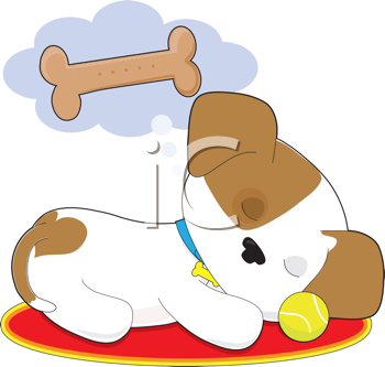 Royalty Free Clipart Image of a Puppy Dreaming of a Bone