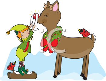Royalty Free Clipart Image of an Elf Polishing a Reindeer's Nose