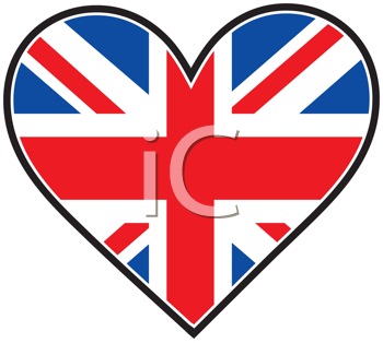 Royalty Free Clipart Image of a British Flag in a Heart