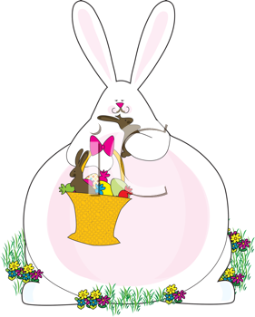 Royalty Free Clipart Image of a Fat Bunny Eating Easter Chocolate