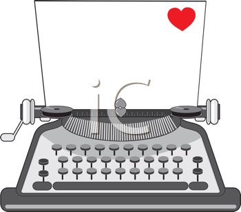 Royalty Free Clipart Image of a Vintage Typewriter With a Piece of Paper