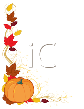 Royalty Free Clipart Image of a Frame With Autumn Leaves and a Pumpkin
