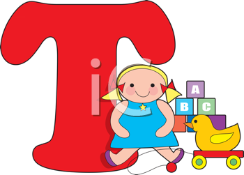 Royalty Free Clipart Image of Toys With a T