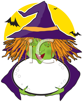Royalty Free Clipart Image of a Witch With a Cauldron