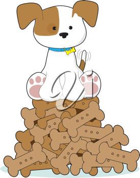 A cute puppy with a blue collar and wagging tail, is sitting atop a pile of dog biscuits.