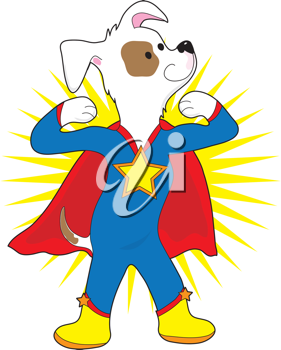 A spotted dog dressed as a super hero showing off his muscles