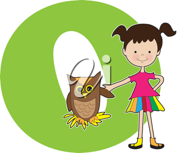 A young girl holding the wing of an owl to stand for the letter O