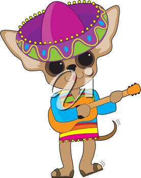 Royalty Free Clipart Image of a Chihuahua With a Guitar