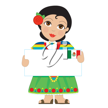 A little girl is dressed in a traditional Mexican costume and holding a sign that looks like a big letter with the Mexican flag in the upper right hand corner