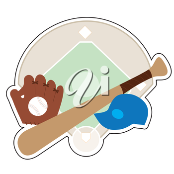 A  baseball diamond,baseball bat,baseball cap and baseball mit on a background featuring a baseball diamond