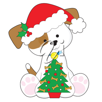 A cute little puppy wearing a Santa hat and sitting next to a Christmas tree with a tennis ball and dog biscuits on it