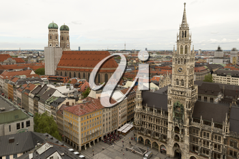 Munich, Germany- May 31, 2016: Rooftop view of Munich. Munich, Bavaria's capital, is home to centuries-old buildings and numerous museums.