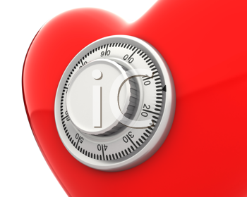Royalty Free Clipart Image of a Heart With a Lock